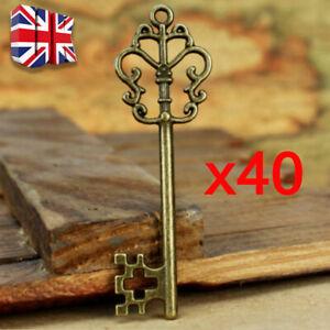 40Pcs Vintage Santas Magic Antique Keys Fairy Angels Alloy Key Charms DIY Decor