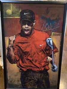 Tiger Woods Stephen Holland Signed Painting