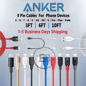 Anker Cable 3FT / 6FT / 10FT 8 Pin For Phone 5 6 s 7 8 X 11 Fast lot Braided/PVC