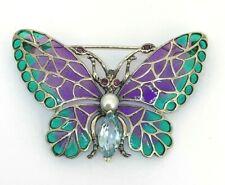Blau Topas  Brosche  Schmetterling Topas Rubin & Emaille    925er Silber