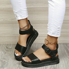 Womens Platform Sandals Ankle Strap Chunky Heels Summer Buckle Casual Roma Shoes