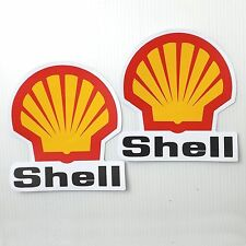 *2PC. SHELL EMBLEM RACING OIL AUTO LUBE F1 DECALS STICKER PRINTED DIE-CUT MOTOR