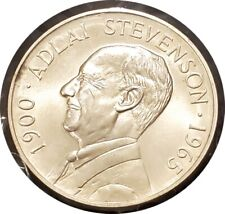 1965 ADLAI STEVENSON MEMORIAL STERLING SILVER MEDAL BY HERALDIC ARTS CO. SUPERB
