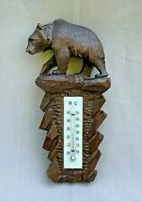 Antique Black Forest Bear Thermometer Carved Wooden Bear Glass Thermometer
