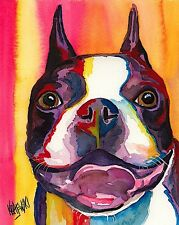 Boston Terrier Dog Art Print Signed by Artist Ron Krajewski 8x10