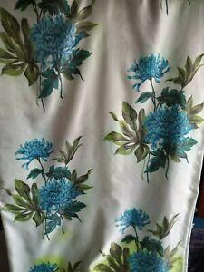Vintage 1950/60s CURTAINS Mid Century Blue Chrysanthemum Fibreglass Fabric 180L