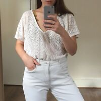 Urban Outfitters Lace/crochet Cream Short Sleeve Top, Size S (will fit UK 8-12)
