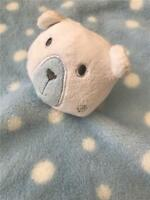 Primark Early Days Blue Bear Spotty Polka Soft Toy Baby Comforter Blanket VGC gg