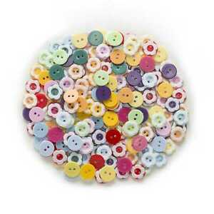 100pcs Flower Resin Buttons for Sewing Scrapbooking Cloth Making Home Decor 12mm