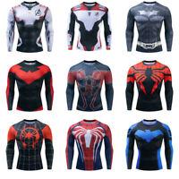 Superman Long Sleeve T-shirt Men's Compression Gym Fitness Sport 3D Tops Clothes