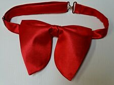 Handmade Oversized Red Satin Bow tie Vintage style 70`s Wedding Prom Gift 4 Him