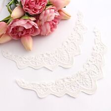 2 x Flutter trim sleeves , lace appliqué in white for clothing and embellishing