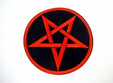 New Red Pentagram XL Iron On Patch Black Metal GOTH Deathrock Satanic Baphomet
