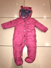 JOULES Age 3-6 Months Pink Snowsuit Girls Warm Winter All In One
