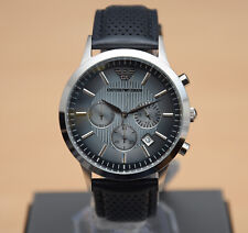 BRAND NEW EMPORIO ARMANI AR2473 MENS GENUINE RENATO BLUE LEATHER GENTS WATCH
