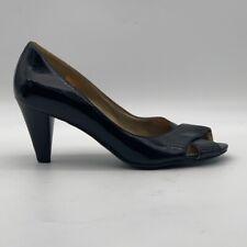ECCO Womens Classic Pump Shoes Black Block Heels Peep Toe Slip Ons 5.5 EU 38 New