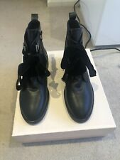 Black Leather Lace Up Ankle Boots Size UK 5 EU 38
