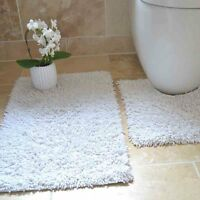 100% COTTON TWIST HEAVY 2 PIECE BATH MAT SET BROWN CREAM BLACK GREY BLUE WHITE