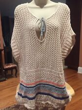 Sanctuary Solid Ivory W/ Colored Striped Bottom Cap Sleeve Cotton Sweater M