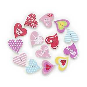 30pcs Heart Shape Wood Buttons for Sewing Scrapbooking Clothing Gift Decor 20mm