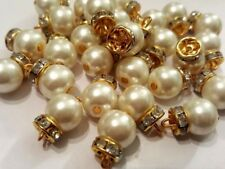 1.5cm- 10 Buttons STUNNING and Stylish Ivory Pearl & Gold Diamante for Crafting
