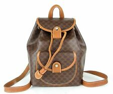 100%Auth CELINE Macadam PVC Canvas Leather Backpack Bag Brown Made In France