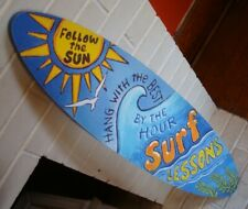 Large 3 Ft Surfboard Surfing Lessons Sign Surf Rustic Beach Tiki Bar Home Decor