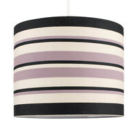 Modern Easy Fit Black Cream  Purple Striped Ceiling Light Pendant Drum Shade