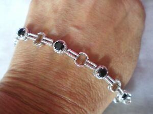 Black Spinel bracelet, 4.72 carats, 13 grams of 925 Sterling Silver, 7 to 8 inch