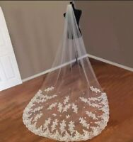 UK 3 Meters White Ivory 1 Layer Lace Cathedral Wedding Veil With Comb Lace Edge