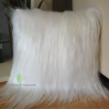 IVORY WHITE 40x40CM GENUINE TIBETAN LONG HAIR GOATSKIN  LAMB WOOL FUR CUSHION