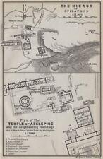 EPIDAURUS/EPIDAVROS. Hieron Asklepios/Asklepius temple/sanctuary plans 1909 map