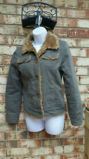 Abercrombie & Fitch Jacket green demin vintage Cropped sherpa Lined Women