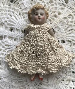 "Crochet Dress for 3 1/2"" Frozen Charlotte Mignonette bisque Kestner Ecru"