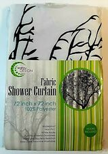 "Creatov Tree Silhouette Design Waterproof Shower Curtain White Size 72""x72"""