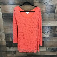 Umgee Women's Coral Lace Overlay Bell Sleeve Mini Dress Size M