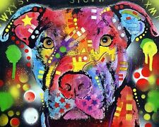 PIT BULL BREED ART POSTER  - STOP DOG FIGHTING - RESCUE 10X8 INCH ART PRINT