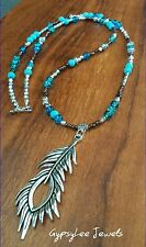 Ocean Blue ♡ Meditation Peacock Feather Pendant Turquoise Yoga Necklace
