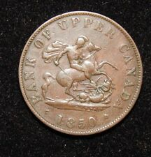 1850 BANK OF UPPER CANADA HALF PENNY TOKEN