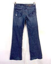 euc BCBG Max Azria ladies Distressed Denim Claire Boot Cut Jeans sz 27 / 29 X 34