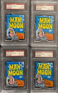 LOT of (4) 1969 Topps Man On The Moon Sealed Unopened Packs PSA 7 NM PSA 8 NM-MT