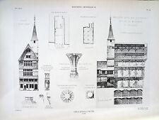 Vieilles maisons à Troyes  (Aube) planche début XX°