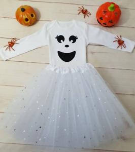 Ghost Costume Girls Halloween Tutu Outfit Gift Cake Smash Bodysuit Pumpkin White
