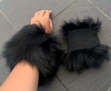 Un paio di Jet Black reale vera pelliccia di volpe Polsini fodera in nylon per Giacca Cappotto
