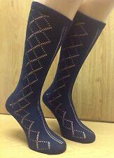 Girls Navy school socks 6 pair size 6-11 Pelerine 3/4 length Knee High UK Made