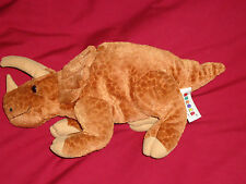 "Aurora 14"" Brown Tan Bean Bag Toy Triceratops Dinosaur Makes Sounds"