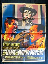 """PEDRO INFANTE """"LOS HIJOS DE MARIA MORALES"""" JOSEP RENAU MEXICAN MOVIE POSTER 1952"""