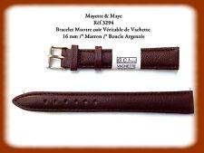 BRACELET MONTRE CUIR VERITABLE DE VACHETTE MARRON 16mm  REF.3294****************