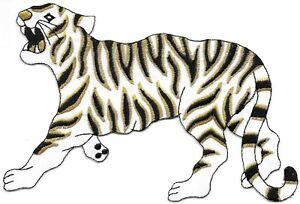 "7 "" Grand Métallique Doré Noir Blanc Jungle Safari Tigre Patch Brodé"