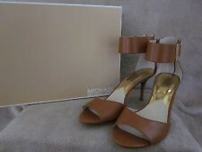 MICHAEL KORS Guiliana Leather Open Toe Luggage Brown Ankle Strap Shoes 10 M NWB